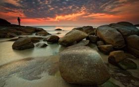 Картинка пляж, пейзаж, камни, рассвет, берег