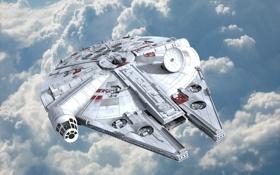 Обои облака, star wars, космический корабль, millenium falcon