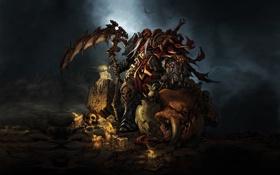 Обои воин, коса, монстр, Darksiders
