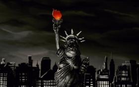Картинка мультфильм, статуя свободы, пластилиновый, мэри и макс
