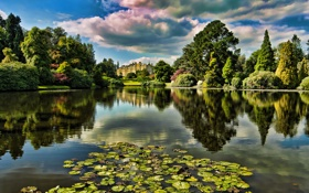 Картинка озеро, парк, замок, дворец