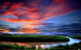 Картинка зелень, небо, облака, закат, река, вечер, поворот