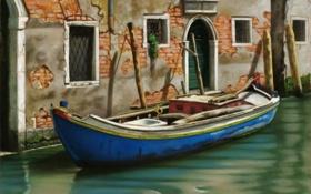 Обои дом, лодка, окна, картина, двери, Италия, Венеция