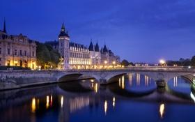 Картинка свет, мост, город, огни, отражение, река, замок