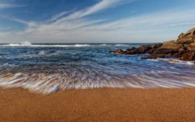 Картинка пляж, небо, облака, камни, океан, волна, горизонт