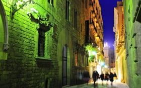 Обои ночь, улица, огни, готический квартал, дома, испания, барселона
