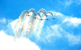 Обои небо, облака, дым, вираж, шоу, самолёты, авиагруппа