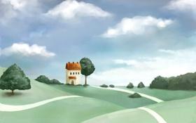 Обои дом, трава, цветы