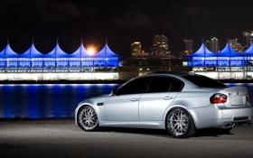 Картинка silvery, бмв, BMW, серебристый, задняя часть, E90