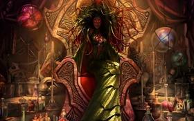 Обои девушка, череп, свечи, платье, тату, баночки, ведьма