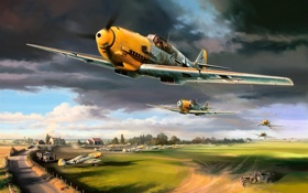 Картинка war, aircraft, art, bf 109, dogfight, airplane, ww2