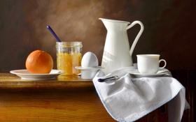 Обои стол, фон, яйцо, апельсин, нож, чашка, посуда