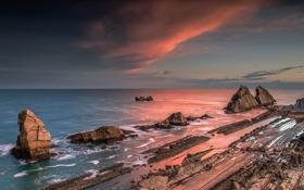 Картинка пейзаж, океан, скалы, рассвет, горизонт