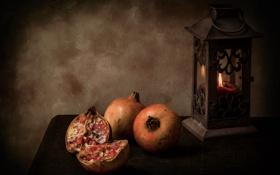 Обои пламя, свеча, светильник, натюрморт, плод, гранат