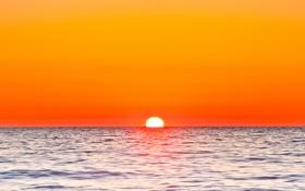Обои море, небо, солнце, закат, зарево