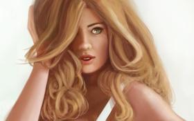 Картинка взгляд, девушка, лицо, фон, волосы, рука, арт