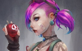 Обои девушка, шар, арт, очки, татуировки, пластырь, league of legends