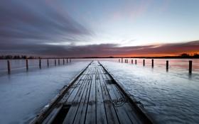 Картинка закат, пейзаж, река, причал
