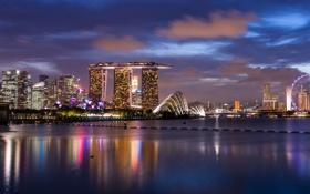 Картинка облака, город, огни, отражение, небоскребы, вечер, подсветка
