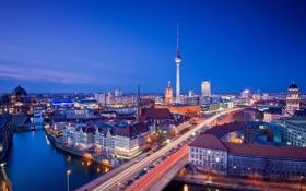 Картинка дорога, город, огни, река, вечер, мосты, Берлин
