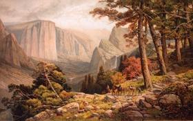 Обои картина, живопись, painting, 1887, The Mariposa Trail in the Yosemite Valley, Andrew Melrose, Californie