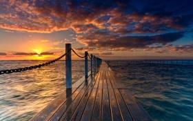 Картинка море, небо, солнце, облака, лучи, океан, ограда