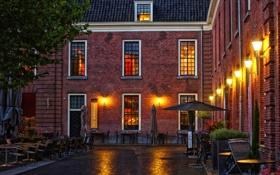 Обои фото, Дома, Ночь, Город, Фонари, Нидерланды, Woerden