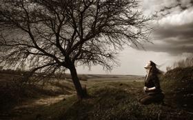 Картинка осень, девушка, тучи, природа, дерево, ветер, холм