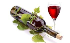 Обои листья, вино, красное, бокал, бутылка, лоза