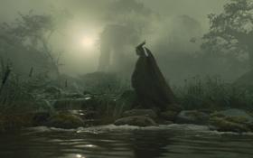 Картинка лес, ночь, река, фильм, рога, посох, ведьма