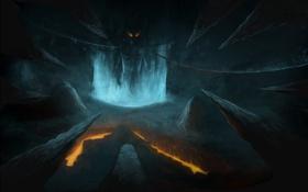 Обои огонь, пещера, демон, жертва