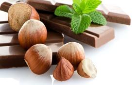 Картинка плитка, шоколад, орехи, мята, дольки, фундук, лесные