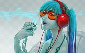 Обои Девушка, наушники, микрофон, очки