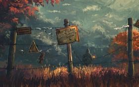 Обои лес, трава, табличка, человек, ограда, капюшон, art