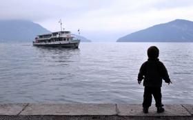 Картинка море, корабль, мальчик
