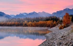 Обои осень, лес, озеро, Alberta, Canada, National park
