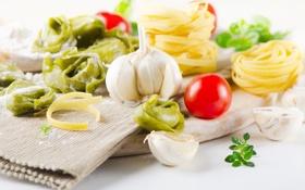 Картинка зелень, спагетти, салфетка, чеснок, тортеллини