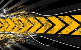 Картинка желтый, стрелки, след, направление