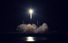 Обои небо, ночь, ракета, взлёт