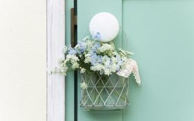 Картинка цветы, фото, обои, букет, весна, дверь, ленточка