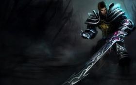 Обои league of legends, броня, меч, мужчина, воин