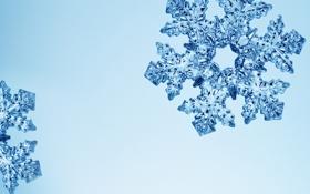 Картинка лед, голубой, блеск, снежинка, кристалл