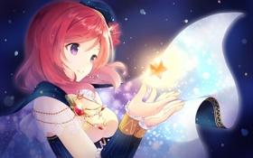 Картинка девушка, улыбка, магия, аниме, арт, звездочка, love live! school idol project