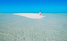 Обои горизонт, небо, девушка, море, песок, отпуск, рай