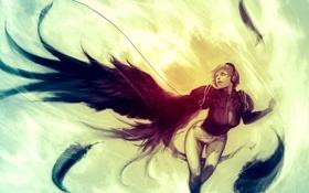 Обои девушка, крылья, перья, наушники, декольте, короткие волосы