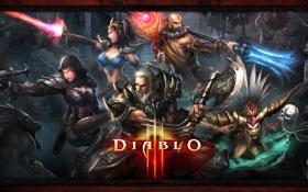 Обои варвар, колдун, монах, Diablo 3, чародейка, охотник на демонов, демоны
