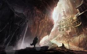 Обои замок, скалы, водопад, фигура, арт, дорожка, храм