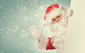 Обои Дед Мороз, борода, Санта Клаус, очки