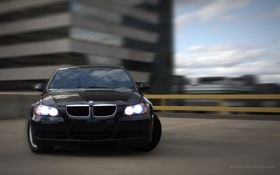Обои черная, дрифт, BMW M3