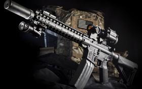 Обои оружие, фон, сумка, винтовка, штурмовая, полуавтоматическая